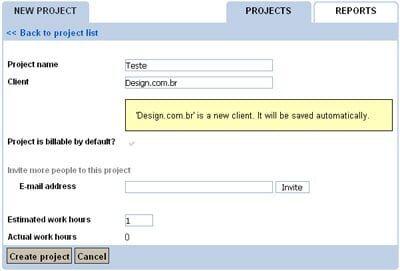 Criação de nova tarefa no Toggl.